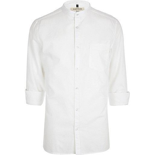 White grandad collar shirt