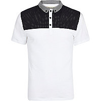 White ditsy print yoke polo shirt