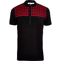Black tartan yoke short sleeve polo shirt