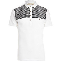 White dogtooth print yoke polo shirt