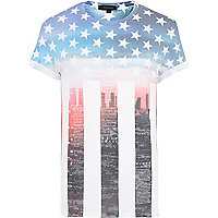 White stars and stripes print t-shirt