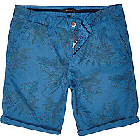 Blue tropical print turn up shorts