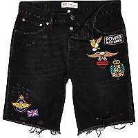 Black badged frayed denim shorts