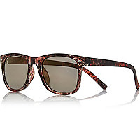 Brown matte marbled retro sunglasses