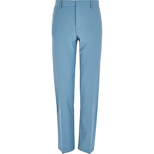 Blue slim suit pants