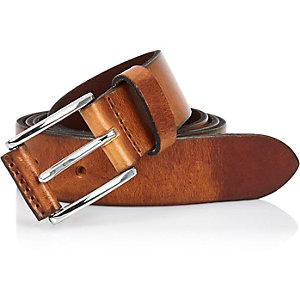 Brown cracked Italian leather belt