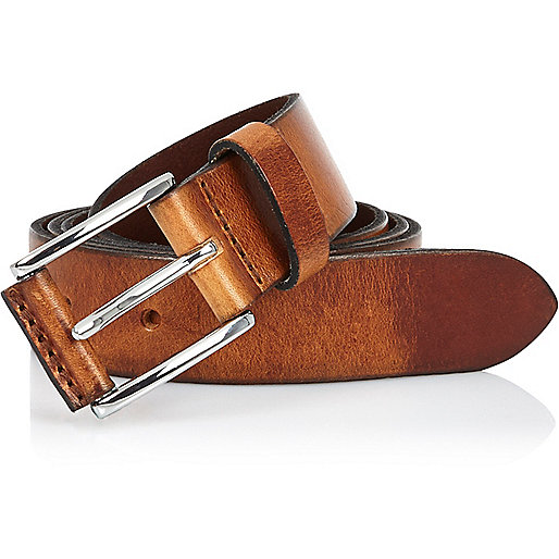 Brown cracked leather belt