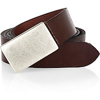 Brown burnished metal plate belt