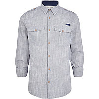Grey crosshatch military shirt