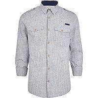 Grey crosshatch military shirt
