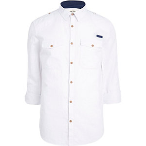 White crosshatch military shirt