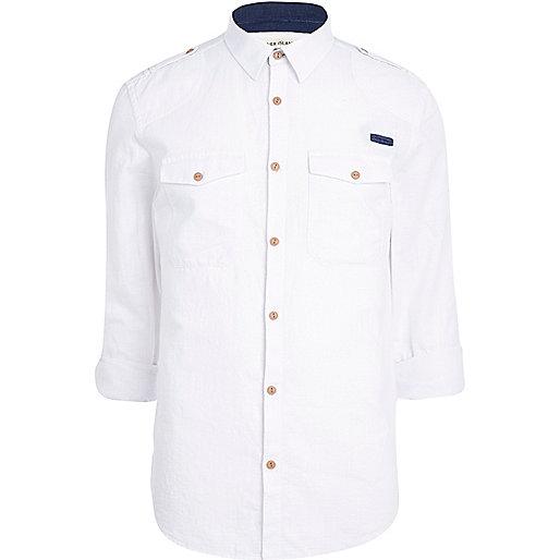 White crosshatch military shirt
