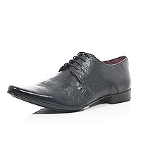 Black leather smart lace up shoes