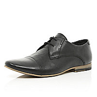 Black leather round toe formal shoes