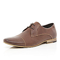 Brown leather stitch detail lace up shoes