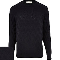 Navy blue zig zag crew neck jumper