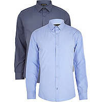 Dark and light blue long sleeve shirt pack