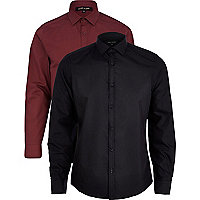 Black and red long sleeve shirt pack