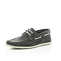 Dark grey leather boat shoes