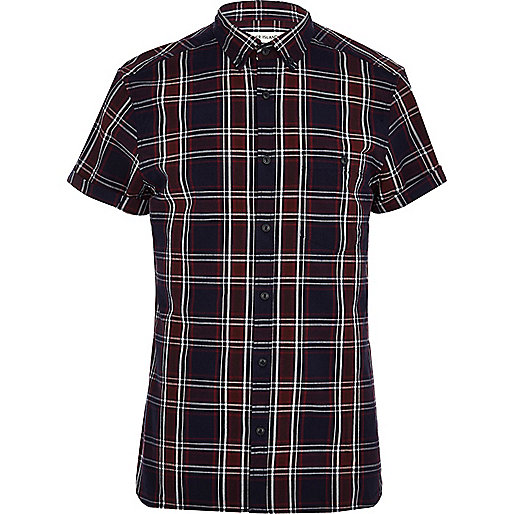 Navy blue tartan short sleeve shirt