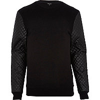 Black quilted leather-look sleeve sweatshirt