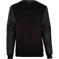 Black quilted leather-look sleeve sweatshirt