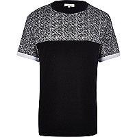 Black textured yoke print t-shirt