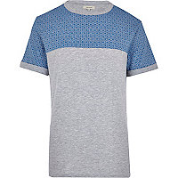 Blue tile print yoke t-shirt