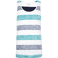 Navy reverse stripe print vest