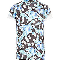 Dark grey floral print t-shirt