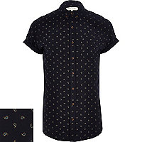 Navy ditsy paisley print short sleeve shirt