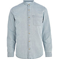 Bleached denim grandad collar shirt