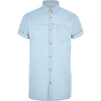 Light blue polka dot yoke denim shirt