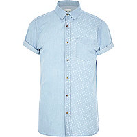 Light blue polka dot panel denim shirt