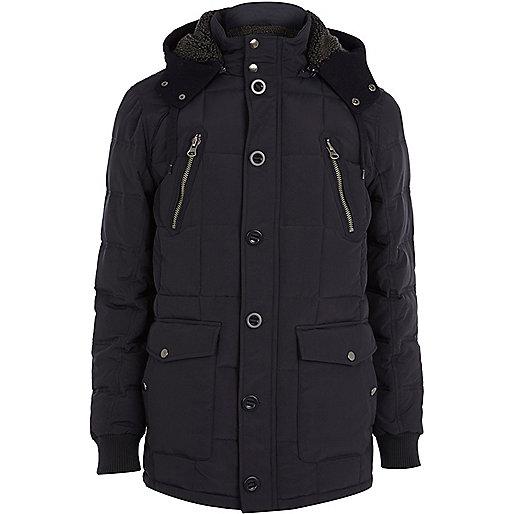 Navy padded parka jacket