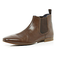 Brown high shine buffed Chelsea boots