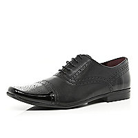 Black patent toe cap brogues