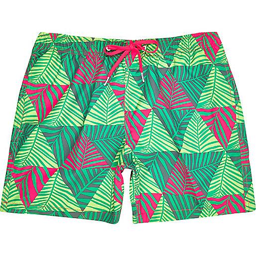 Green Bjorn Borg palm print swim shorts