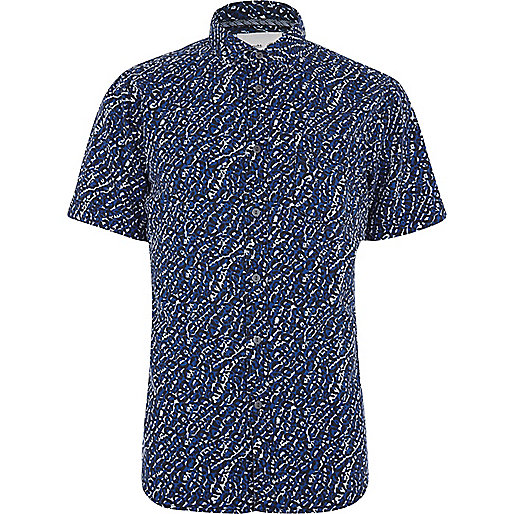 Blue Humor abstract print shirt