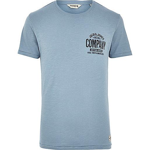 Blue Jack & Jones Vintage logo print t-shirt