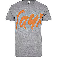 Grey Jack & Jones Premium faux t-shirt