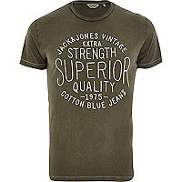 Khaki green Jack & Jones Vintage t-shirt