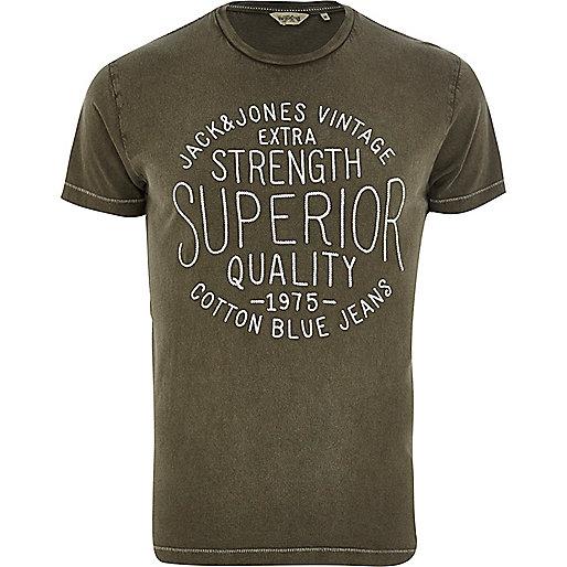 Khaki green Jack & Jones Vintage t-shirt