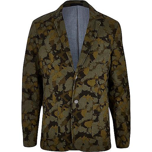 Green Jack & Jones Premium camo print blazer