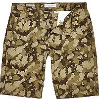 Khaki Jack & Jones Premium camo print shorts