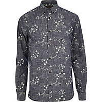 Blue Jack & Jones Premium floral print shirt