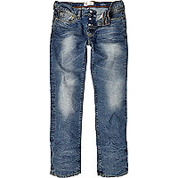 Light wash Dean distressed straight jeans