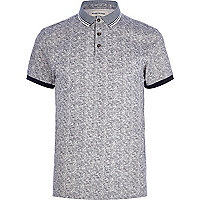 Grey textured polo shirt