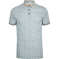 Light blue textured short sleeve polo shirt