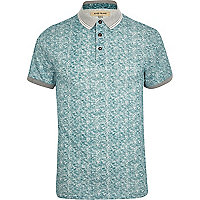 Green textured polo shirt